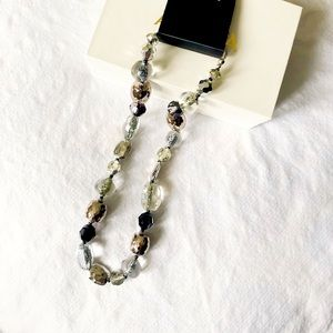 Silver Black Assorted Faceted Beaded Necklace